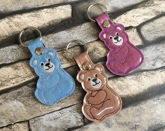Bear key fob, machine embroidery,Teddy bear fob, key fob, fob, keyring, key ring, ITH, in the hoop 4x4