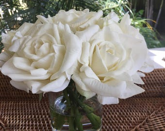 Fine silk Floral Arrangement faux real-touch creamy white roses with Illusion water by Bouquet home