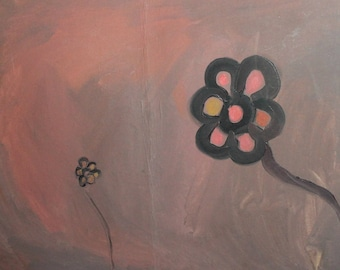 Abstract modernist floral oil painting