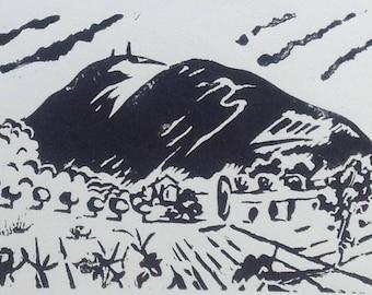 Mont-Ventoux original linocut original linocut on faux Japan Provence