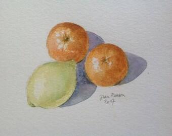 Lemon and oranges citrus Still life still life Stilleven citrusvruchten original watercolor, original watercolor painting