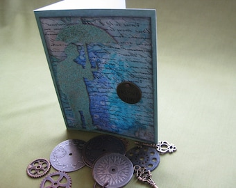 Handmade Umbrella Man Card
