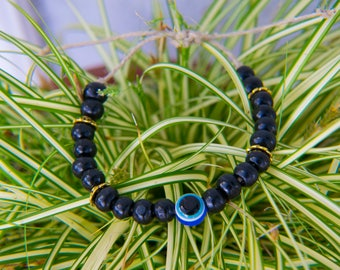 Evil Eye Hemp Beaded Bracelet