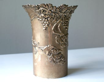 Vintage Silver Plated Wine Champagne Bucket Cooler. Bottle Holder. Wine Coaster. Grapes And Leaves Design By Vera Lucino