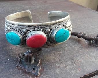 Large Cuff Bracelet - Tibetan Bangle, Silver Bracelet, Gemstone Bracelet, Turquoise Jewelry, Tribal Bracelet, Ethnic Bracelet, Mothers Day