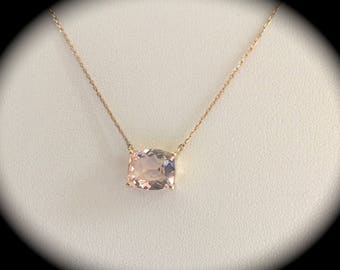 Large 4.71ct Genuine Morganite Necklace 9ct Y gold - 'CERTIFIED' Beautiful Colour!