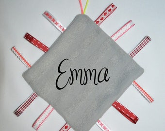 Flat square blanket with personalized name
