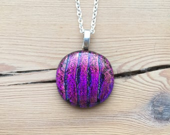 Purple Glass Necklace, Fused Glass Jewelry, Dichroic Glass, Striped, Gift For Her, One Of A Kind, Purple, Pink, Red, Yellow