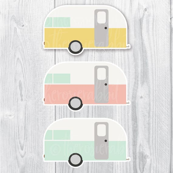 Vintage Camper PNG Digital Download Retro Vector Camping Scrapbook Clip Art Png Cute