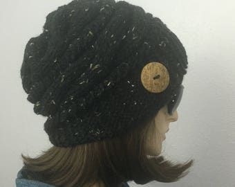 Women Knit Hat Black Cable Hat With  Button Winter Women Hat Womens Accessories Fall Fashion
