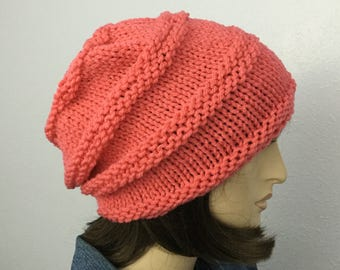 Women Knit Hat Coral Pink Slouchy Hat Womens Accessories Fall Fashion Winter Hat