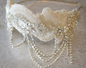 Marjorie Luxury Bridal Headpiece 1920s Art Deco Crystal Headband Wedding Hairband