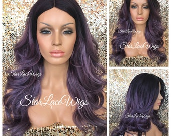Long Curly Ombre Purple Wig - Dark Roots - Layers - Middle Part - Heat Resistant Safe - Cosplay Wig