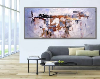 "Modern Art Wall Art Wall Decor Art Home Decor Huge Abstract White Gray 27x71""/70x180cm Large Abstract Painting"