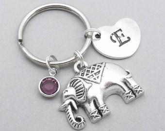 Indian elephant heart initial keyring | elephant keychain | personalised elephant keyring | elephant accessory | elephant gift | letter