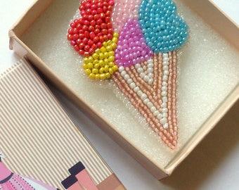 Seed bead ice-cream brooch, Seed bead brooch, Ice-cream brooch, Seed bead jewelry