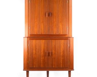 Vintage Danish teak corner cupboard cabinet