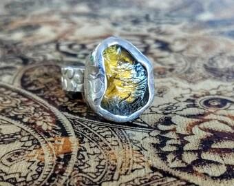 RAW Citrine Gemstone Ring, adjustable size, 925 Sterling Silver, Natural! Organic, Rustic, Hand Crafted, November Birthstone, NEW, Abundance