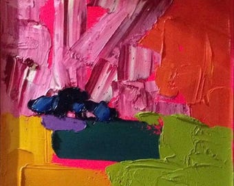 Contemporary 'Raspberry Ripple' Oil on Canvas