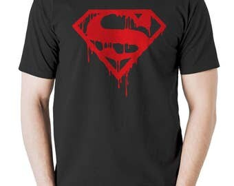 New Superman Blood Dripping T shirt Mens Workout Gym Tshirt Black All Sizes