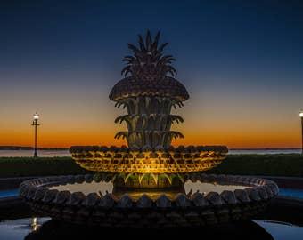 Charleston Pineapple Fountain Sunrise - Limited Edition Metal Print