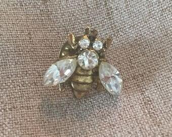 Diamond Rhinestone Gold Toned Bee Pin