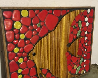 Wall relief image ceramic/wood 60 he years 'Fish' relief wooden picture / ceramic 60's fish