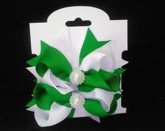 3'' Rhinestone Grosgrain Ribbon Pinwheel Hair Bow Alligator Clip Set for Baby Girls Teens Toddlers Newborn infant Hair Accessories