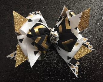 """Gold & Black Aztec 4 1/2"""" Bow with Gator Clip"""