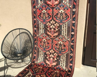 SALE!!!!! 4x10 Vintage Persian Bakhtiari Rug (Runner) - Hand Knotted