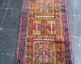 Oushak Rug,VintageTurkish Carpet, Home  Decoratıve Pastel and Colored Rugs,2x4ft,Home living,Faded blue purple colors, Mustard bed,