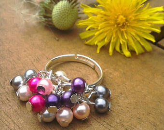 Cha cha adjustable cluster ring silver plate and glass pearls