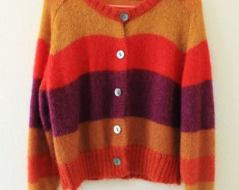 Striped fuzzy red orange wool cardigan