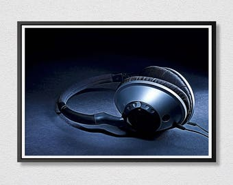 Headphones Printable Art - Photograph Art - Instant Download - Printable Art - Headphones Art - Headphones Print - Music.