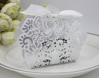 Set Of 50 White Laser Cut Wedding Favor Boxes With Ribbon Lace Floral Party Baby Shower