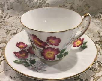 Vintage Royal Kendall Fine Bone China Teacup and Saucer - Rambling Rose