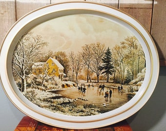 Vintage Currier and Ives Skating - Early Winter Collectible Tin Tray