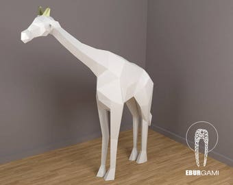 Giraffe XXL Papercraft, 3D Papercraft - Build Your Own Low Poly Paper Sculpture from PDF Download (DIY gift, Wall Decor for home and office)