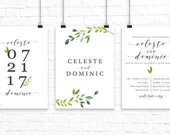 Greenery Wedding Invitation Set // Modern Wedding Invitation Set // Fresh Wedding