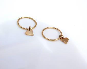 14k solid gold heart hoops earrings