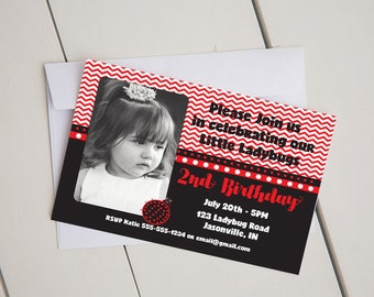 Little Ladybug Birthday Invitation-Chevron-Printable-Digital-5x7