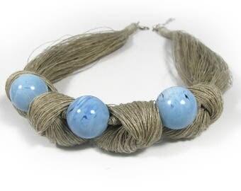 Linen , Linen cord, flax, Natural necklaces, linen thread, Natural style, Eco style, flax necklaces, Organic Necklace, Linen Necklace