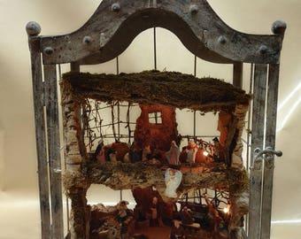 Craft crib in antiqued greenhouse