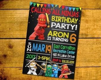 Lego Ninjago Birthday Invitation -Lego Ninjago Birthday Party Invitation -Lego Ninjago Printable Digital File-Lego Ninjago Invitation