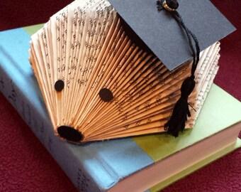 Repurposed Book Hedgehog - Graduation