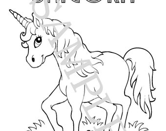 printable customized unicorn and rainbow birthday party coloring page