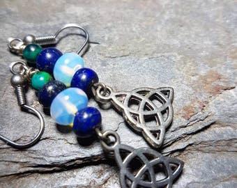 Lapis lazuli, chrysocolla and opelite Celtic earrings