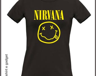 "Shaped short sleeve cotton t-shirt with logo printing ""Nirvana"""