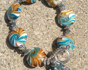 Handmade glass bead bracelet
