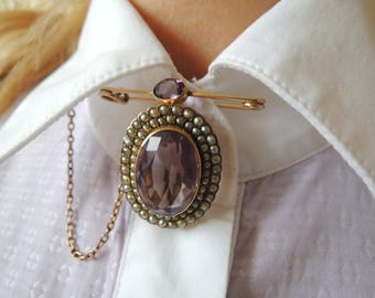 Antique Victorian Gold Amethyst Seed Pearl Brooch